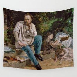 Gustave Courbet - Pierre-Joseph Proudhon et ses Enfants Wall Tapestry