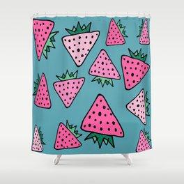 strawberry blue Shower Curtain