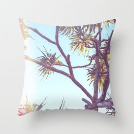 Retro Tropical Palm Tree Throw Pillow