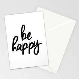 Be Happy black and white monochrome typography poster design bedroom wall art home decor Stationery Cards