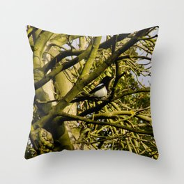 Magpie resting in a tree Throw Pillow