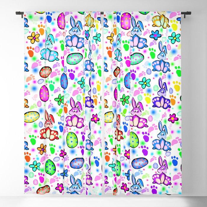 Easter Bunny Rainbow Party Blackout Curtain