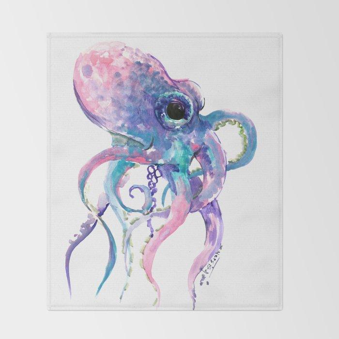 Octopus, Pink purple sea animals design underwater scene painting Throw Blanket