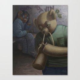 Drug Addict Teddy Canvas Print