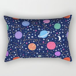Astrology Zodiac Constellation in Midnight Blue Rectangular Pillow