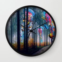 Forest of Super Electric Jellyfish Worlds Wall Clock