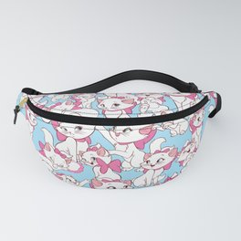 White Kitten with Pink Bow on Blue Fanny Pack
