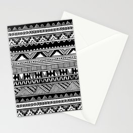 Black White Cute Girly Urban Tribal Aztec Andes Abstract Geometric Hand-drawn Pattern Stationery Cards