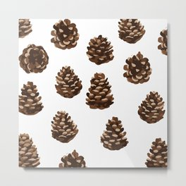 Seasonal Pine Cones Metal Print