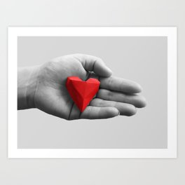 hand with red heart Art Print