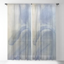 Nude in Blue, White, and Yellow Sheer Curtain