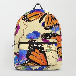 YELLOW MONARCH BUTTERFLY GARDEN & BLUE MORNING GLORIES ART Backpack