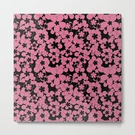 Floral black pink pattern Metal Print