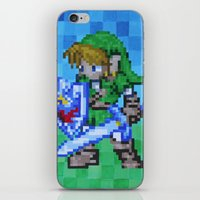8bit iPhone & iPod Skins featuring 8bit Link by Cariann Dominguez