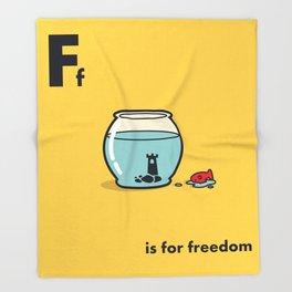 F is for freedom - the irony Throw Blanket