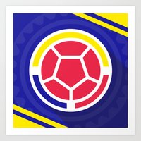 colombia Art Prints featuring Seleccion Colombia by DAN LOZ