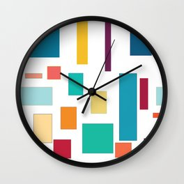 Rectangles and Squares on White Wall Clock