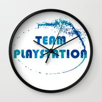 playstation Wall Clocks featuring Team Playstation by Bradley Bailey