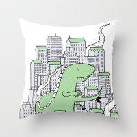 godzilla Throw Pillows featuring Godzilla by Mild Peril Media