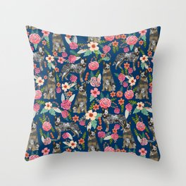 Australian cattle dog floral dog breed navy pet pattern custom gifts for dog lovers Throw Pillow