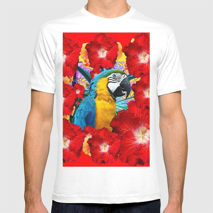 56cb279b Red Hibiscus Flowers & Blue Macaw Parrot T-shirt by sharlesart | Society6