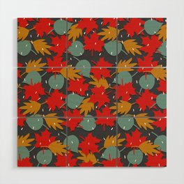Falling red leaves Wood Wall Art