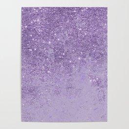 Modern elegant lavender lilac glitter marble Poster