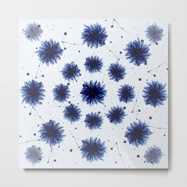 Blue cornflower watercolor pattern Metal Print
