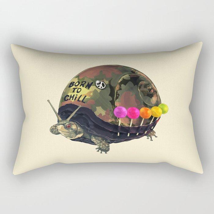 """Born to Chill"" Full Metal Snail Turtle Rectangular Pillow"