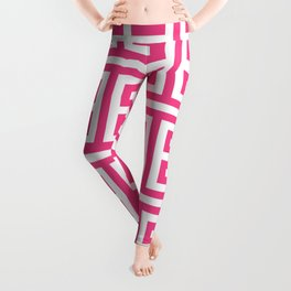 Large Pink and White Greek Key Pattern Leggings