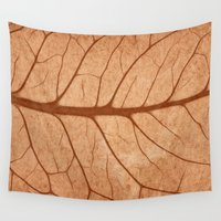 notebook Wall Tapestries featuring Vintage Sepia Leaf Veins by Nicolas Raymond