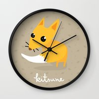 kitsune Wall Clocks featuring kitsune by kulu kulu