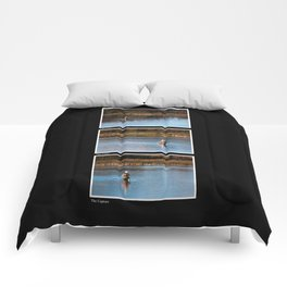 Gone Fishing Triptych Black Comforters