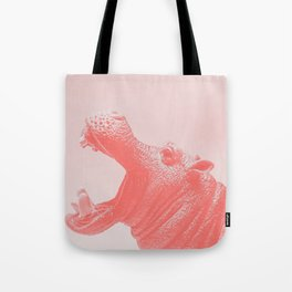 Living Coral Hippo Tote Bag
