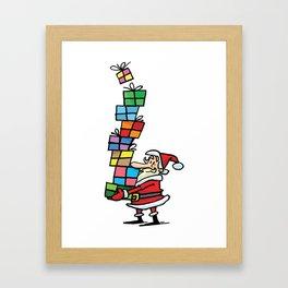 Santa Claus and Gifts Framed Art Print