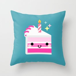 Cute cake slice with candle Throw Pillow