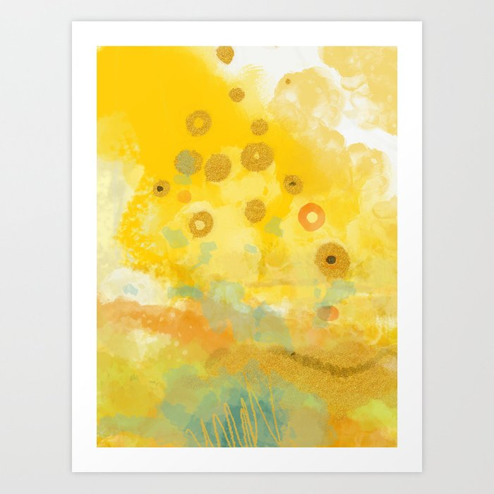 Abstract autumn with gold and warm light Kunstdrucke