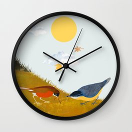 Two birds with one worm Wall Clock