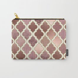 Rosegold Pink and Copper Moroccan Tile Pattern Carry-All Pouch