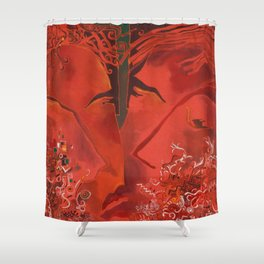 two lovers,red color of love Shower Curtain
