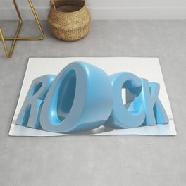 Rock written in blue letters on white background Rug