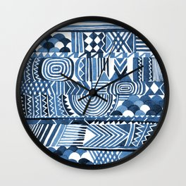 Circle Pattern Blue Wall Clock