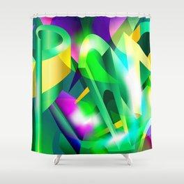 GREEN-ACID Cubism Abstract Digital Art Shower Curtain
