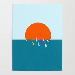 Minimal regatta in the sun Poster