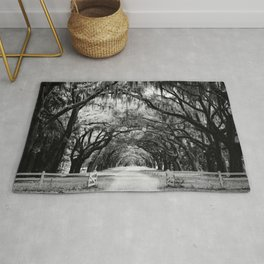 Spanish Moss on Southern Live Oak Trees black and white photograph / black and white art photography Rug