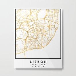 LISBON PORTUGAL CITY STREET MAP ART Metal Print
