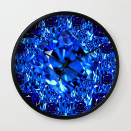 AWESOME SEPTEMBER BLUE  SAPPHIRES GEM BIRTHSTONE ART Wall Clock
