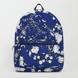 Botanical hand painted navy blue white floral Backpack