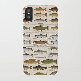 Illustrated Western Game Fish Identification Fishing - Sportsmen Chart Vintage Poster iPhone Case