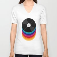 records V-neck T-shirts featuring Rainbow Records by Michael Glass